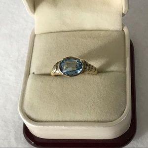 Vintage 14k Gold Vermeil Sterling Topaz Ring